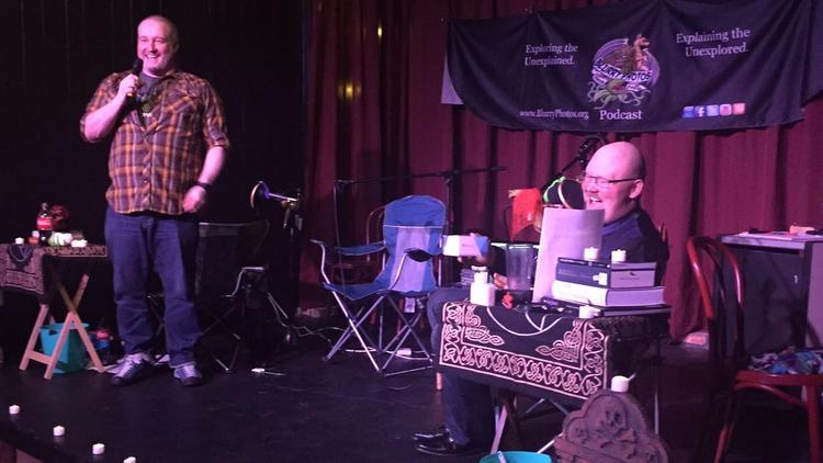 "Dave Stecco and David Flora perform their podcast ""Blurry Photos"" at the Laugh Out Loud Theater in C"