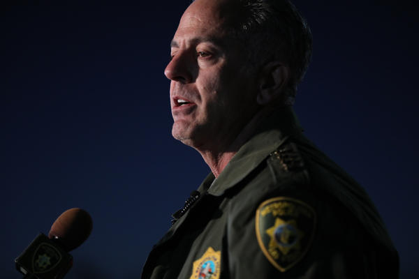 Clark County Sheriff Joseph Lombardo gives a morning press update on Oct. 2, 2017, in Las Vegas. (Marcus Yam / Los Angeles Times)