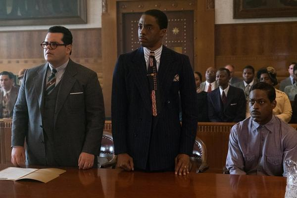 "Josh Gad, left, Chadwick Boseman and Sterling K. Brown appear in a scene from ""Marshall."" (Barry Wetcher / Open Road Films)"