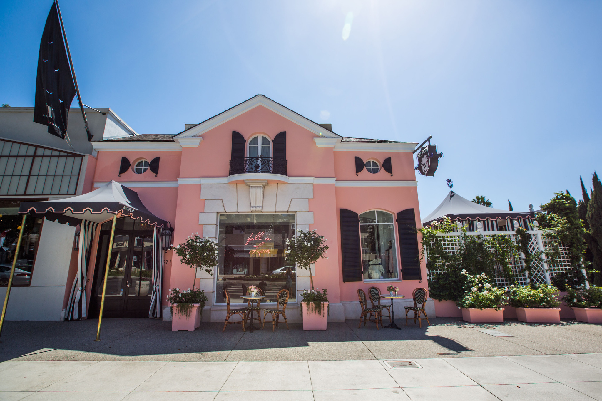 The dreamy pink exterior of the Wildfox flagship store on Sunset Boulevard in West Hollywood.