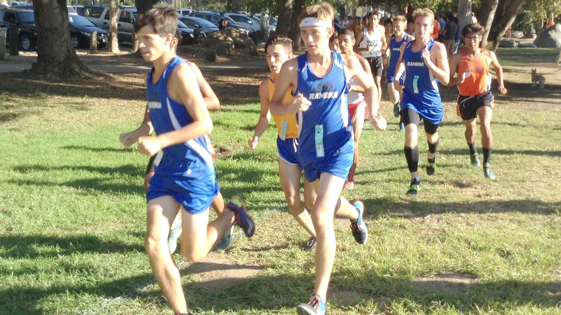 Bulldogs Gavin Roche, Cameron Klein, Shawn McClure and Mitchell Sutter are in front after the first half-mile of the league match.