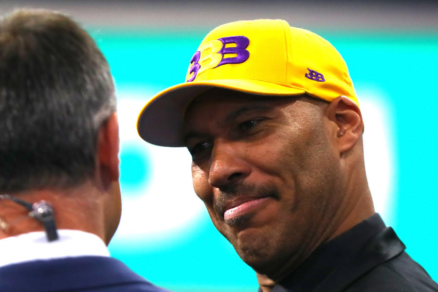 LaVar Ball speaks to media during the first round of the 2017 NBA Draft at Barclays Center on June 22. (Mike Stobe / AFP / Getty Images)