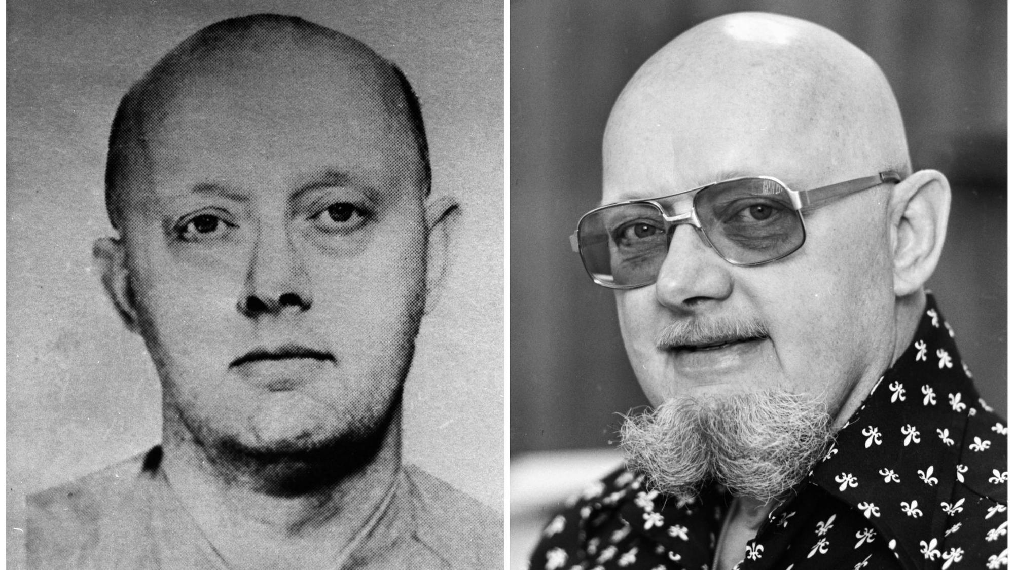 Benjamin Hoskins Paddock, Stephen Paddock's father, is shown in an FBI wanted poster from the 1960s, left, and in an image from 1977, when he was on the lam in Oregon after escaping from a Texas federal prison and adopting the alias Bruce Ericksen.