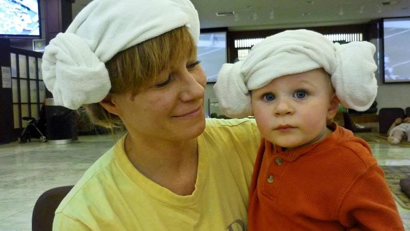Yang mori (lamb's head) towel hat, worn by  Elisa Parhad and son Marsais Parhad, then 1, in 2010. (Jordan Parhad)