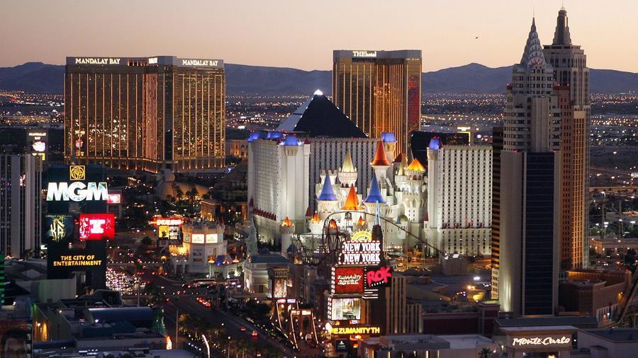 Casinos line the Las Vegas Strip on October 20th, 2009. — Photograph: Isaac Brekken/Associated Press.
