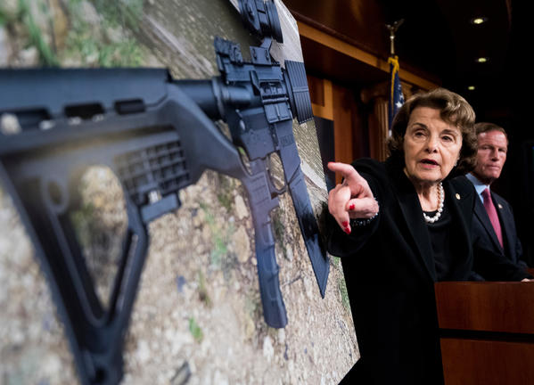 Sen. Dianne Feinstein (D-Calif.) and Sen. Richard Blumenthal (D-Conn.) hold a news conference to introduce legislation to ban the sale and possession of gun bump stocks. (Bill Clark / CQ Roll Call)
