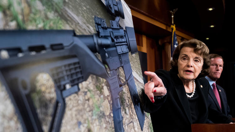 """Sen. Dianne Feinstein (D-Calif.) introduces legislation to ban the sale and possession of """"bump stock"""" equipment for firearms. (Bill Clark / CQ Roll Call)"""
