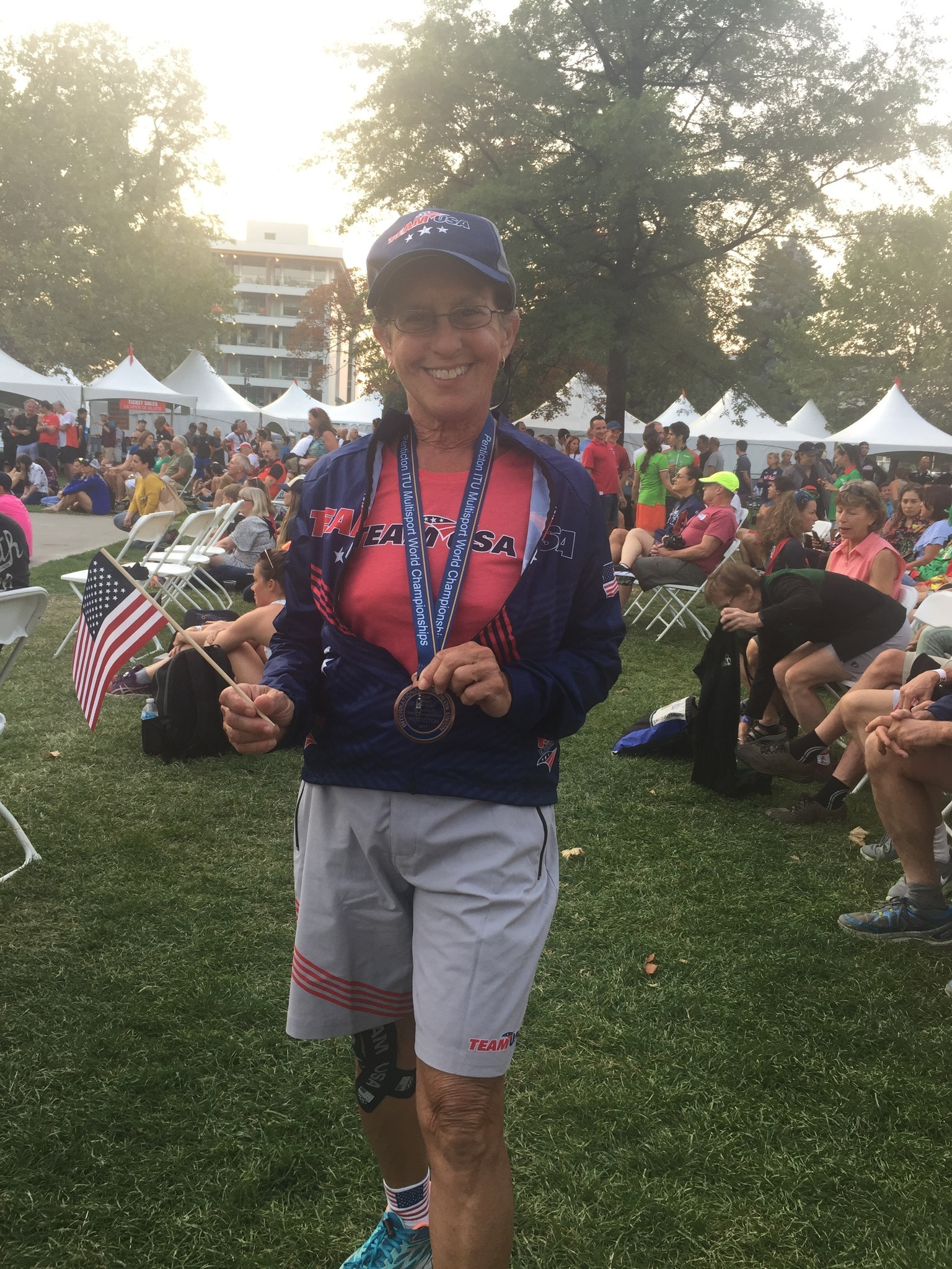 Judi Carbary with her medal.