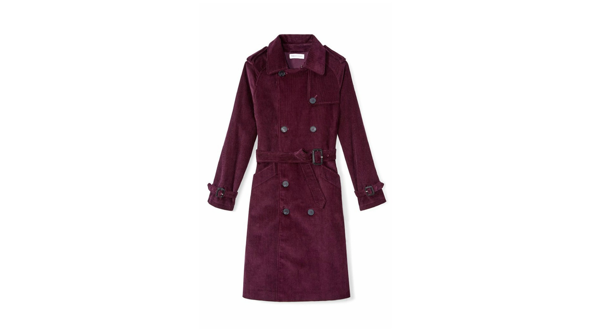 Bundle up in this dark purple Ferry belted trench from Rebecca Minkoff.