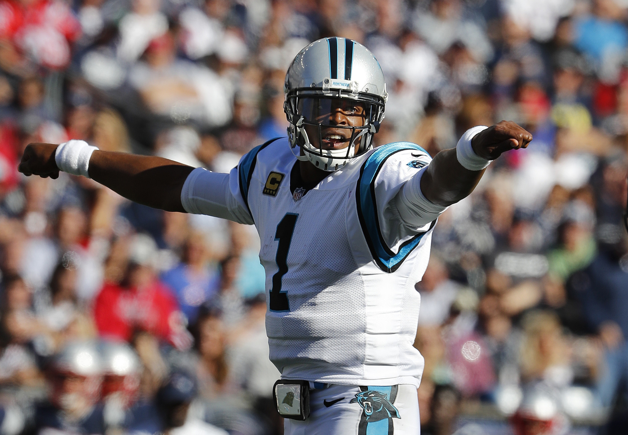 Cam Newton thinks it s funny to hear female reporter use mon