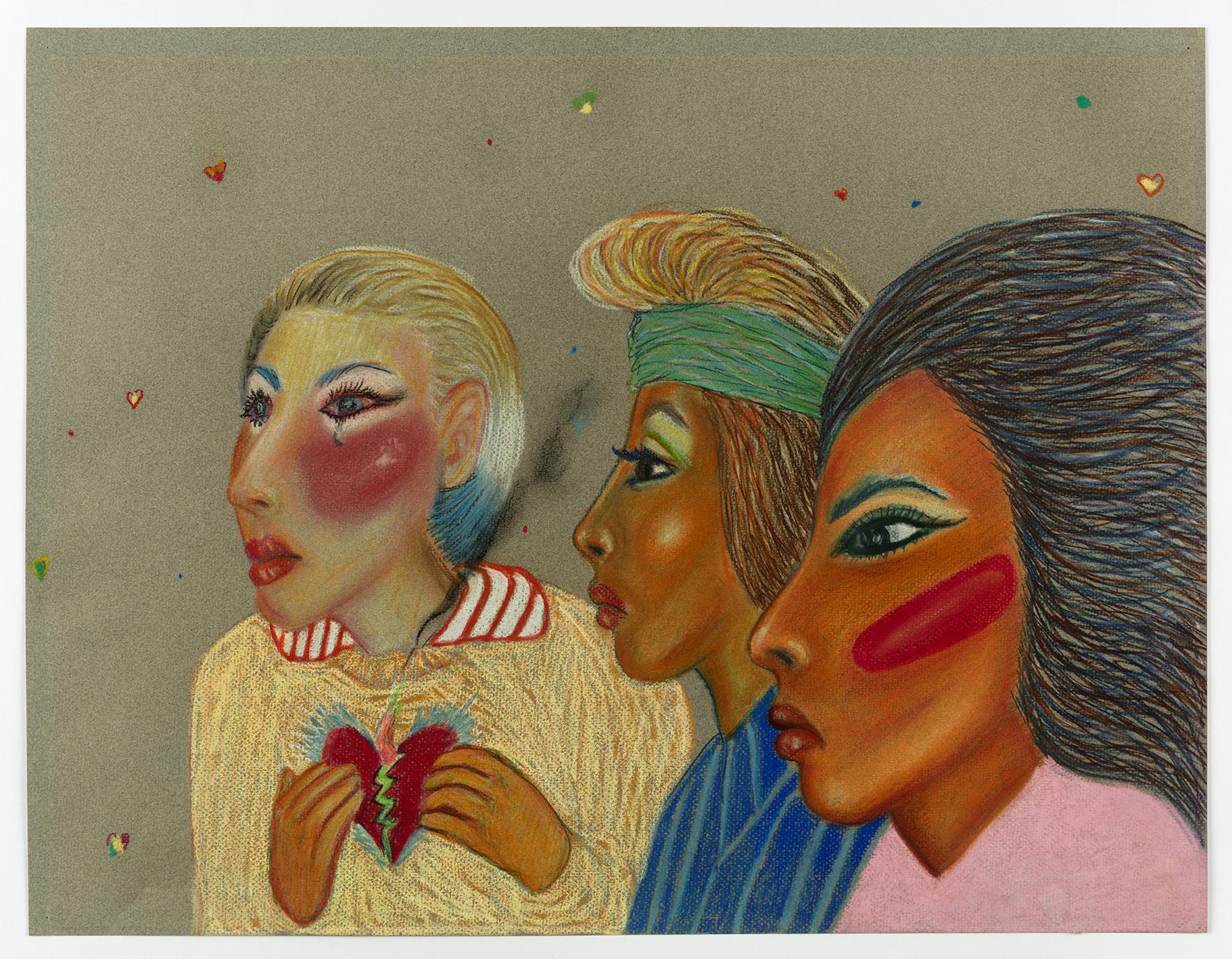 """Amor en Aztlán,"" by Gilbert 'Magu' Luján, 1988, at the University Art Galleries at UC Irvine."