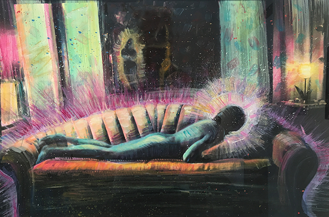 """""""Urban Shaman, Portrait of Carlos,"""" 1984, by Elsa Flores Almaraz at Craig Krully Gallery."""