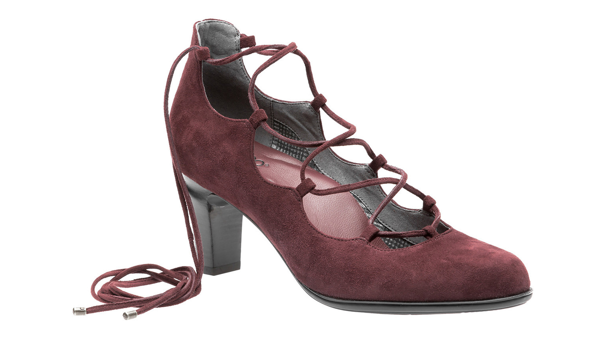 Footwear brand Abeo is known for its fashion-forward-yet-comfortable shoes. The Virtue is in burgundy, considered one of fall's most dominant colors, and features on-trend lace-up details.