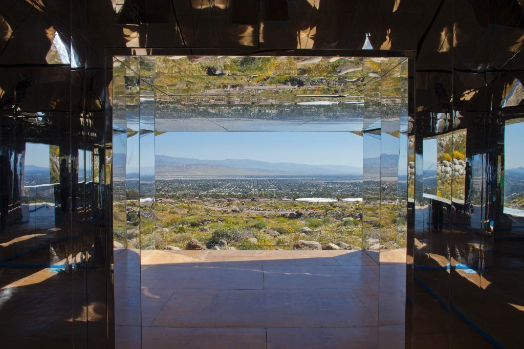 "Doug Aitken's ""Mirage,"" from the inaugural Desert X, is a house made of mirrors reflecting its surroundings."