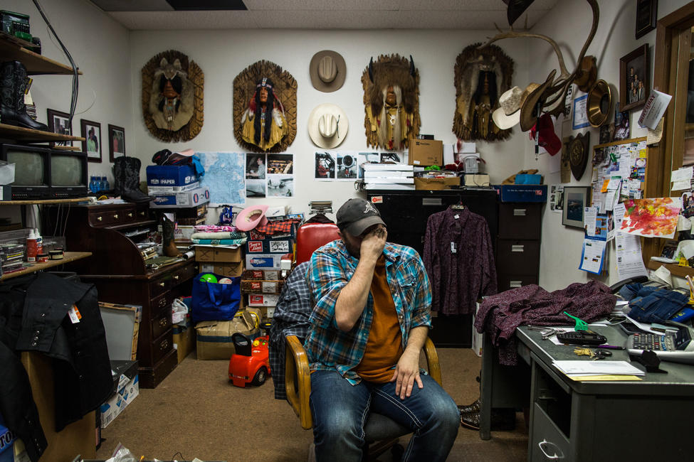 Donny Millions emotionally recounts his final interaction with Adrian Murfitt at the western wear shop where he helps out, the Silva Saddle in Anchorage. — Photograph: Ash Adams/Los Angeles Times.