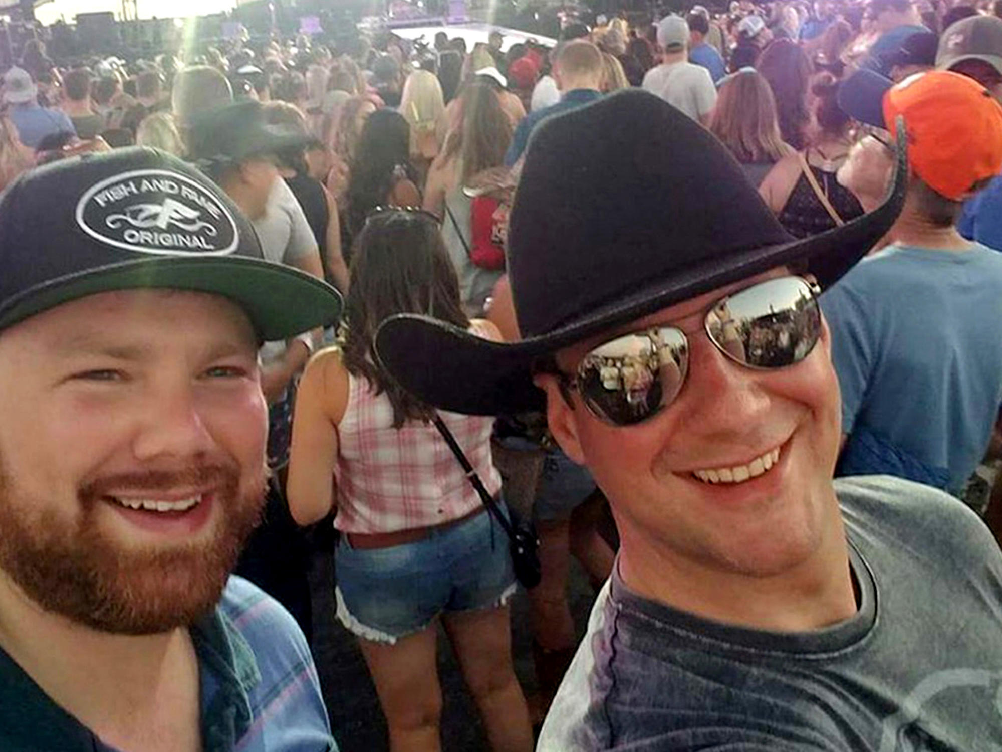 Brian MacKinnon (left) and Adrian Murfitt at the Route 91 Harvest music festival in Las Vegas.