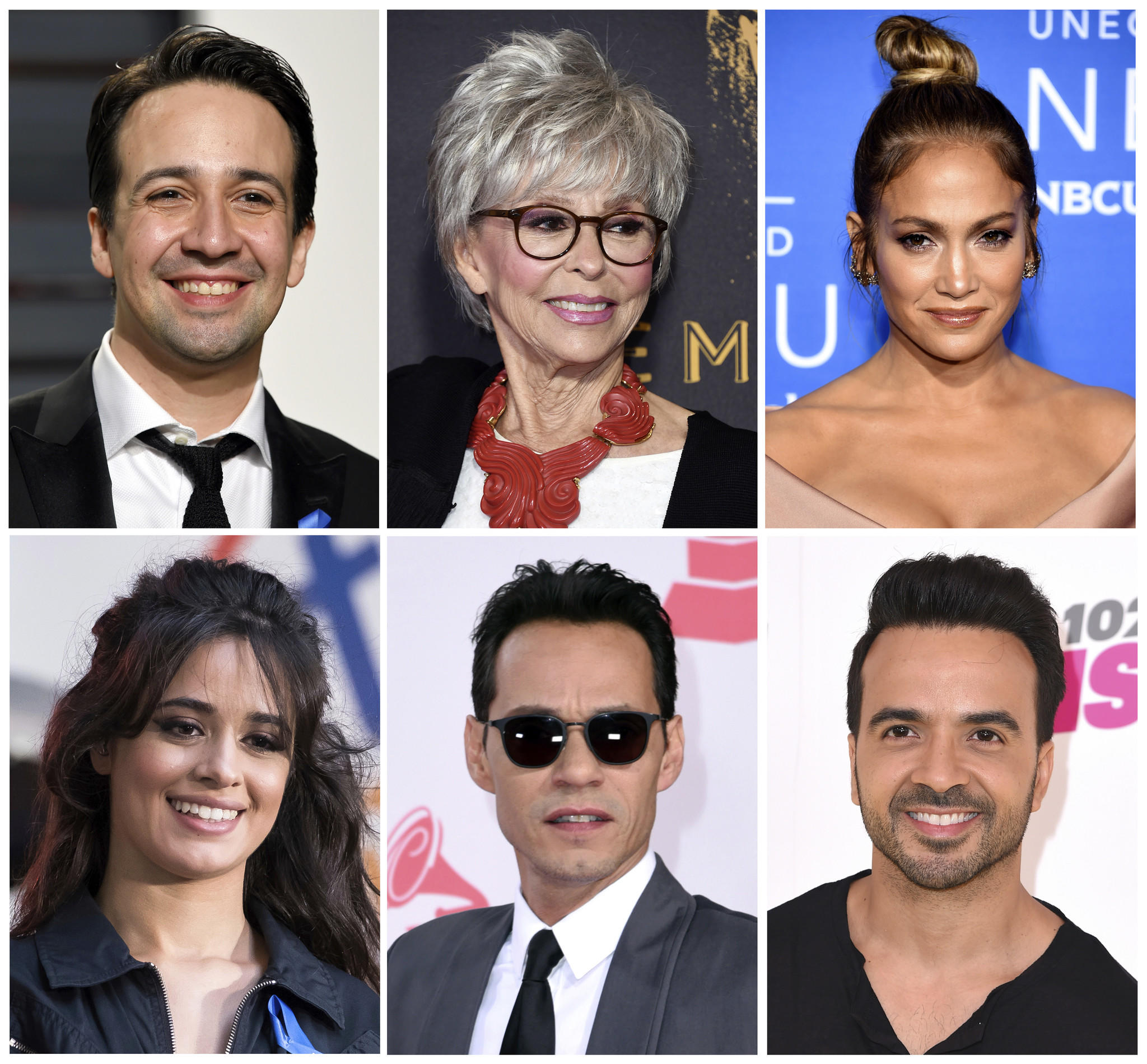 Lin-Manuel Miranda, top row from left, Rita Moreno, Jennifer Lopez, and bottom row from left, Camilla Cabello, Marc Anthony and Luis Fonsi. (Associated Press)