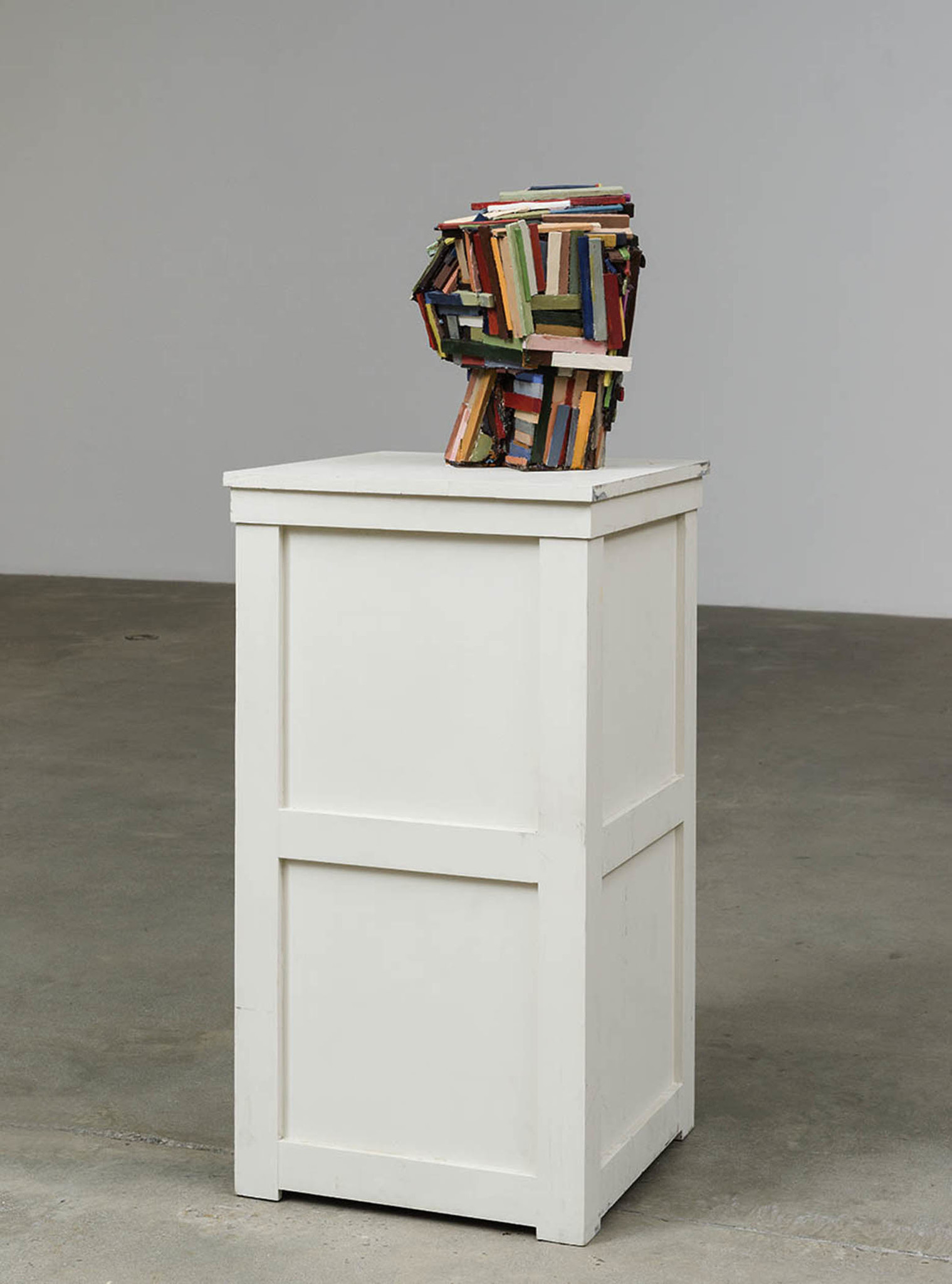"""Jeff Colson's """"Blockhouse,"""" 2017, urethane resin, acrylic paint, wood, 53 inches by 20 inches 20 inches."""