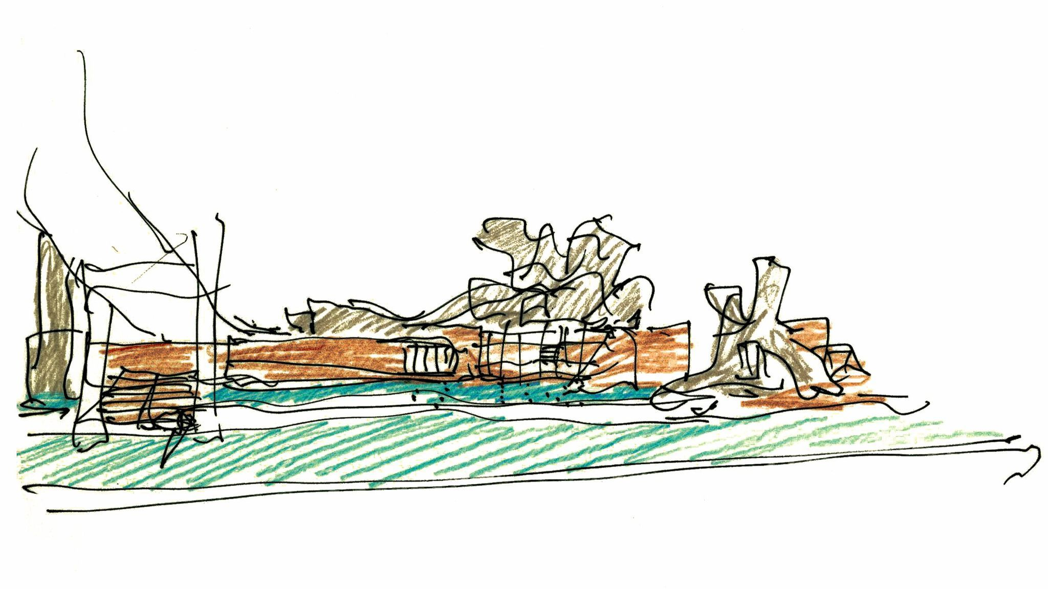 Frank Gehry's sketch of the Bilbao museum.