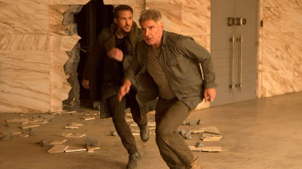 "Ryan Gosling, left, and Harrison Ford in ""Blade Runner 2049."""