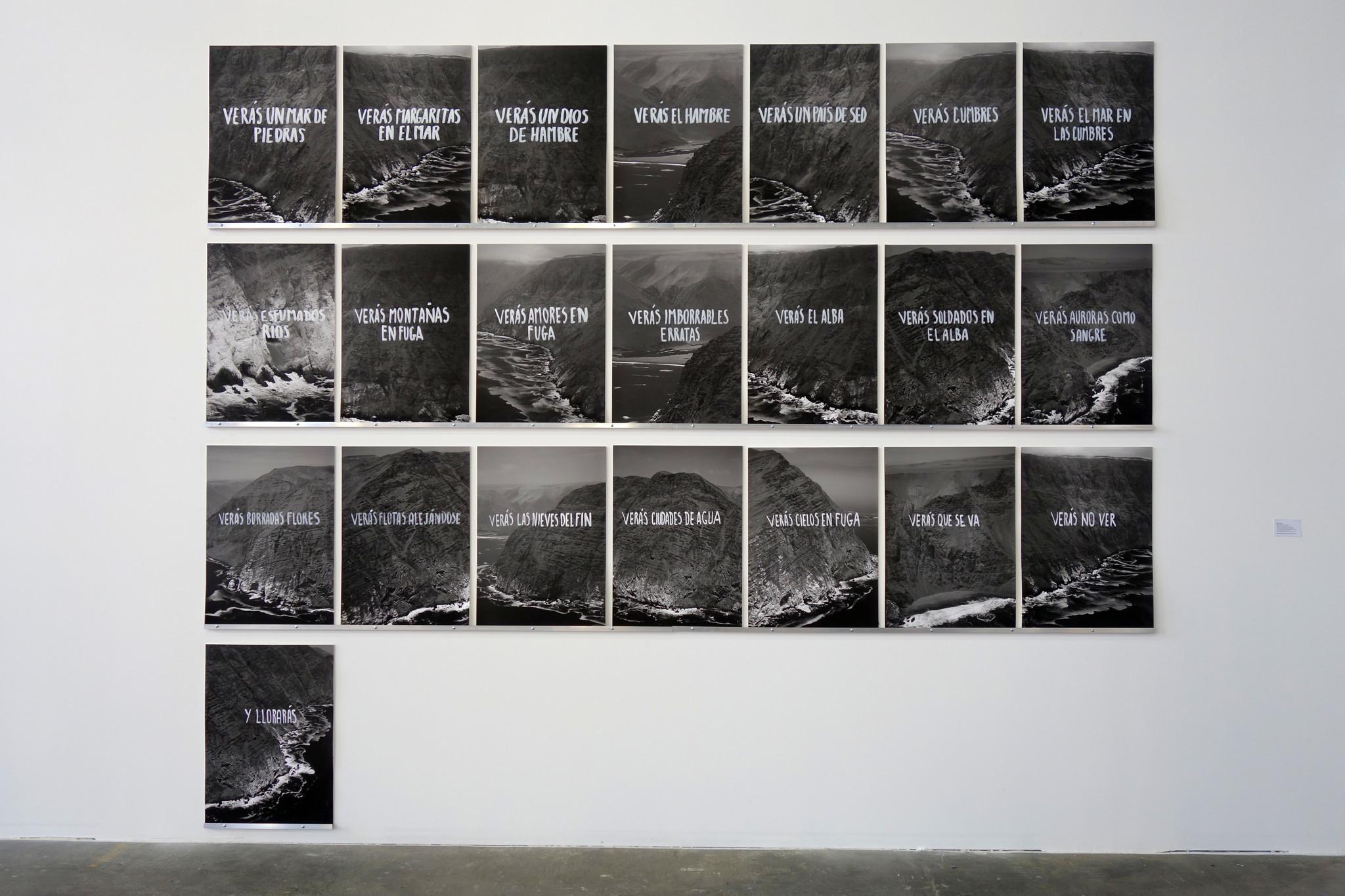"""Chilean poet Raúl Zurita's """"Proyecto Escritura Material,"""" on view courtesy of Galería Isabel Aninat."""