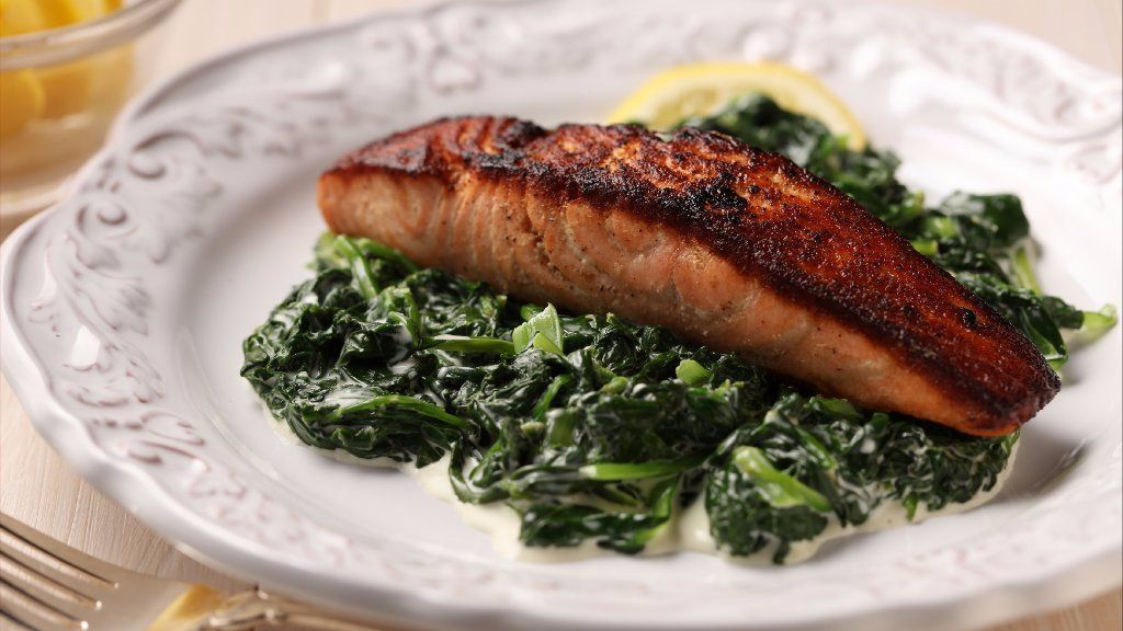 Salmon with creamed greens updates an '80s icon