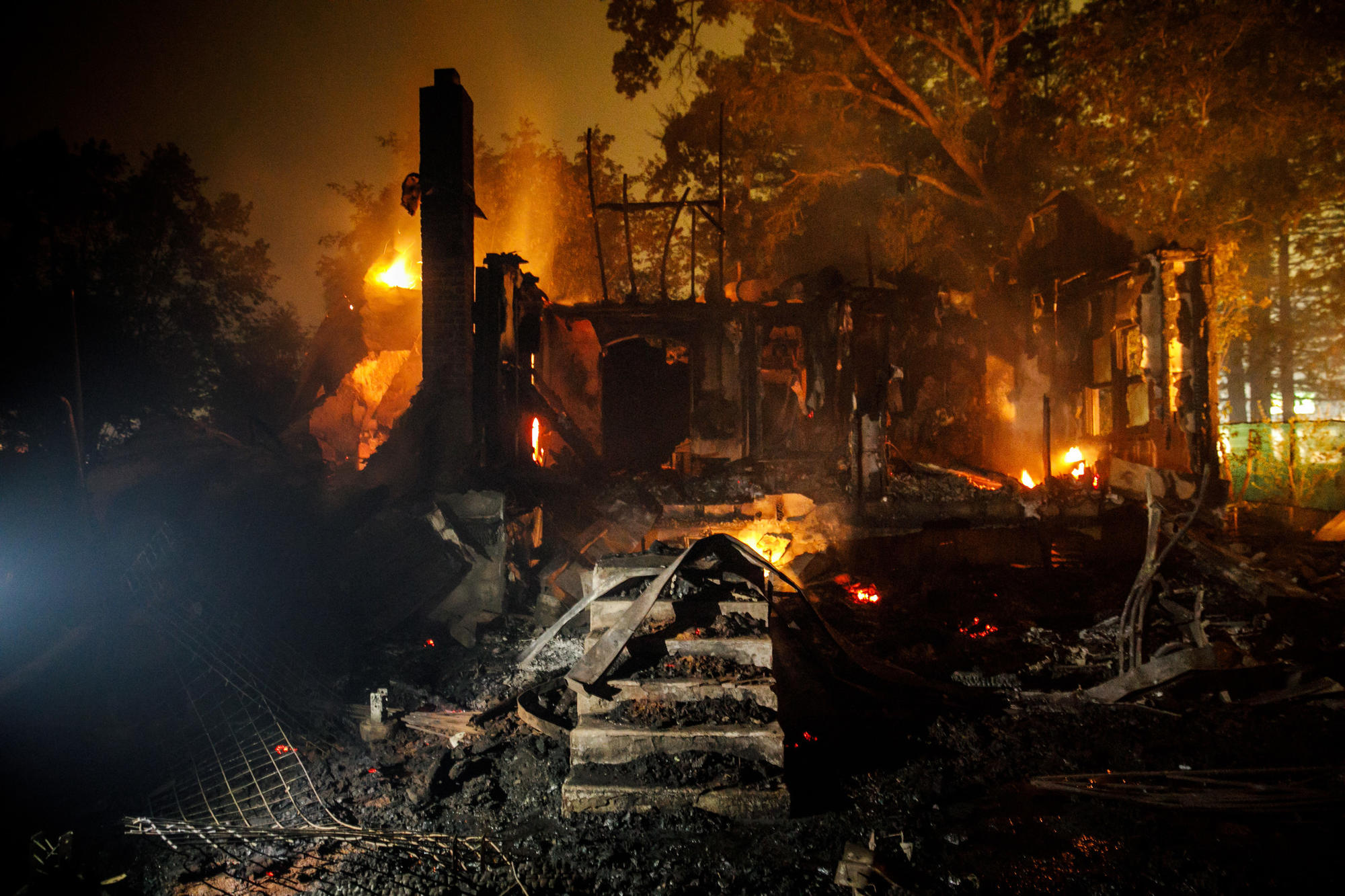 A home destroyed in the fast-moving wildfire that ripped through Glen Ellen in Sonoma County.
