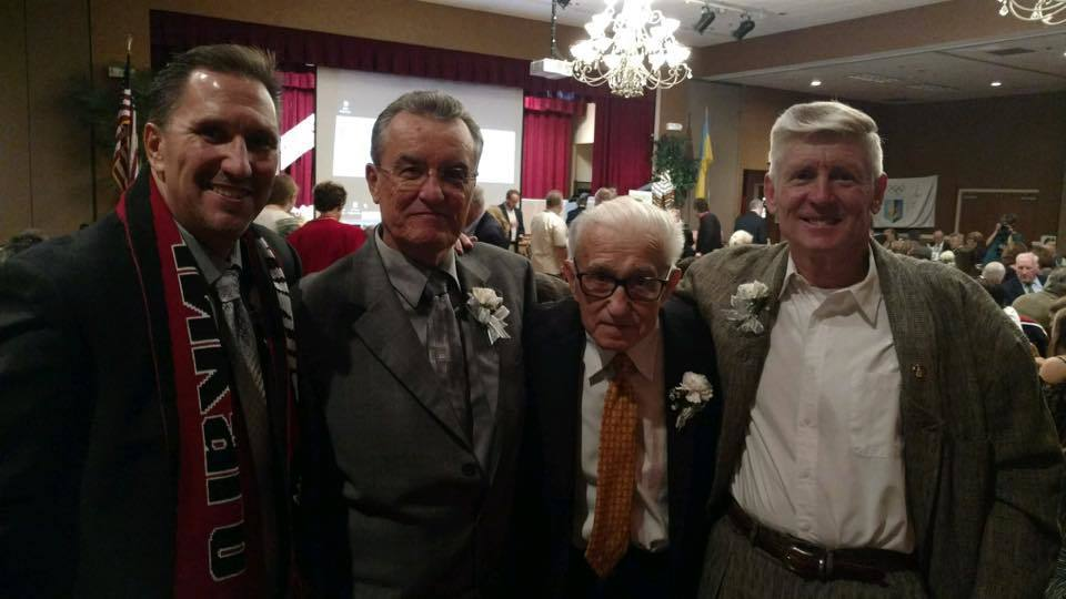 Nik Owcharuk, far right, with three Ukrainian Sports Hall of Fame goalkeepers who all grew up a block apart in Chicago's Ukrainian Village: Yaro Dachniwsky, Orest Banach and Olympian Mykola Kasian.