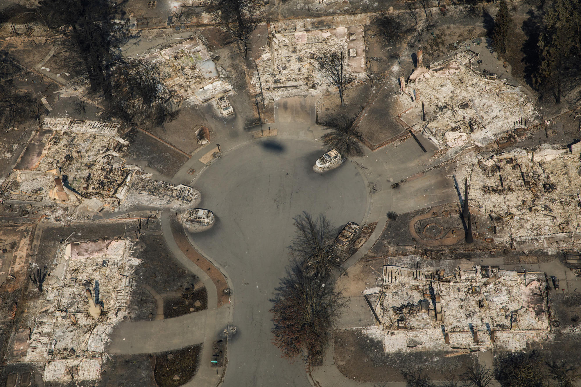 Another aerial view of the Coffey Park neighborhood destroyed by wildfire in Santa Rosa.