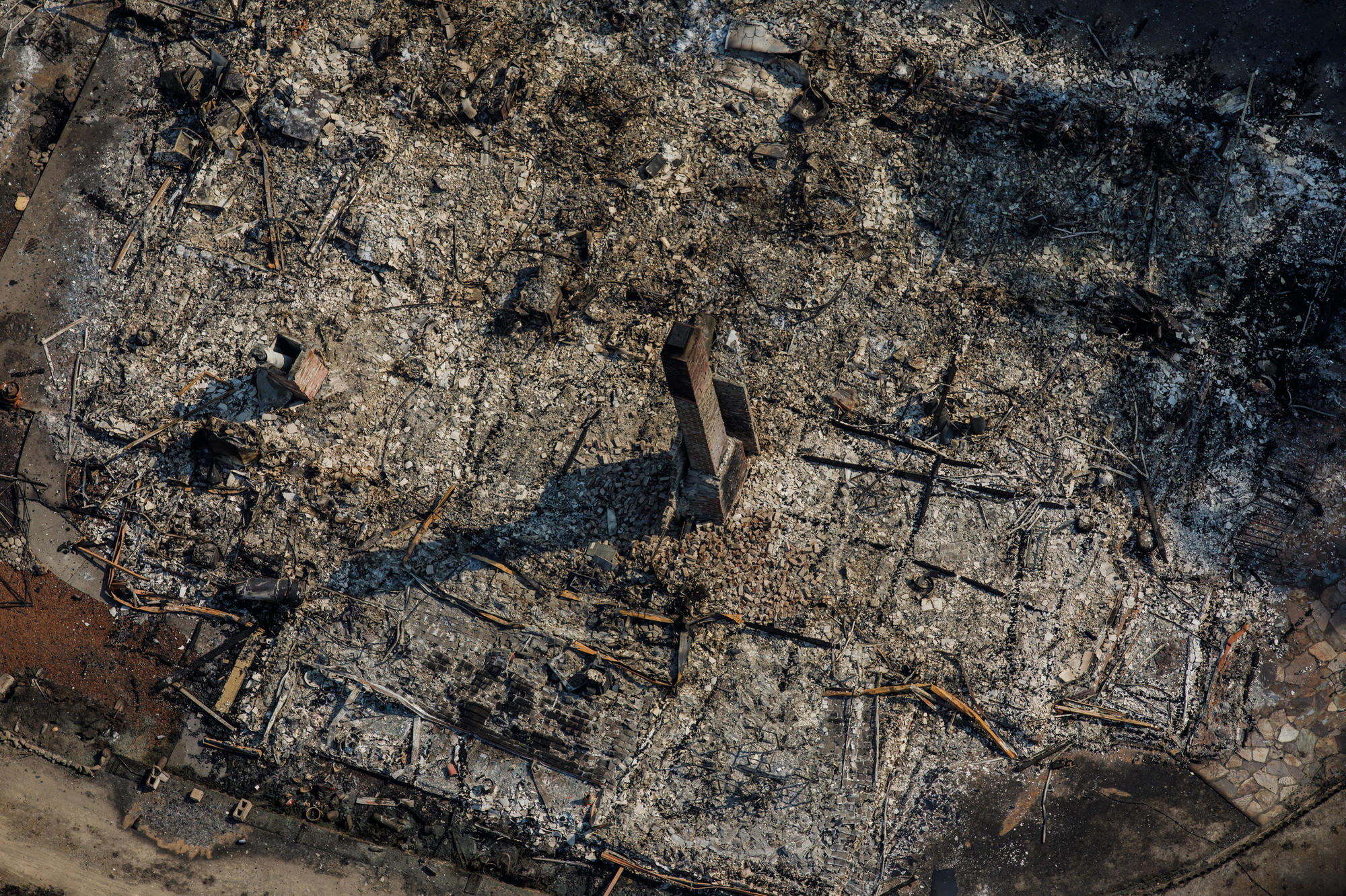 An aerial view of the Coffey Park neighborhood destroyed by wildfire in Santa Rosa.