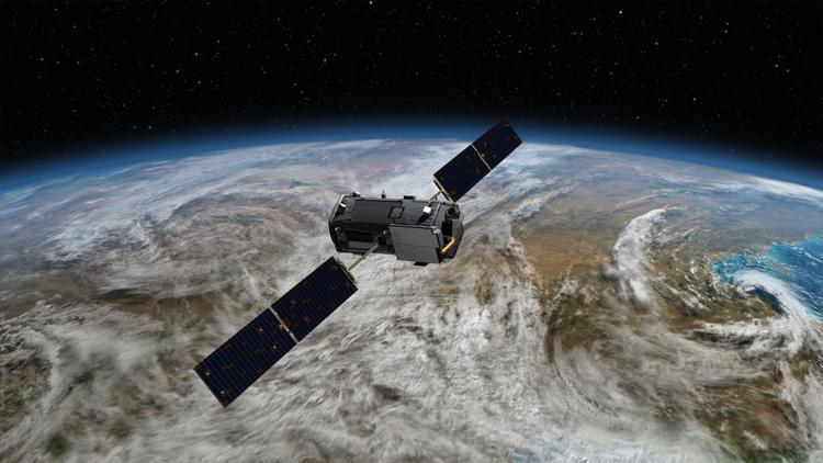 An illustration of NASA's Orbiting Carbon Observatory-2 satellite at work in Earth's orbit. (NASA)