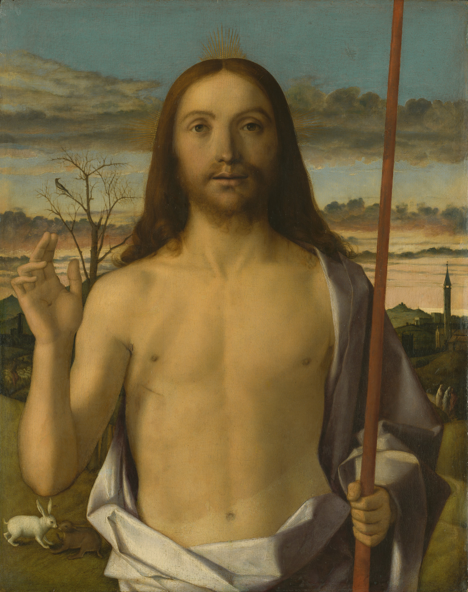 "Giovanni Bellini, ""Christ Blessing,"" circa 1500."
