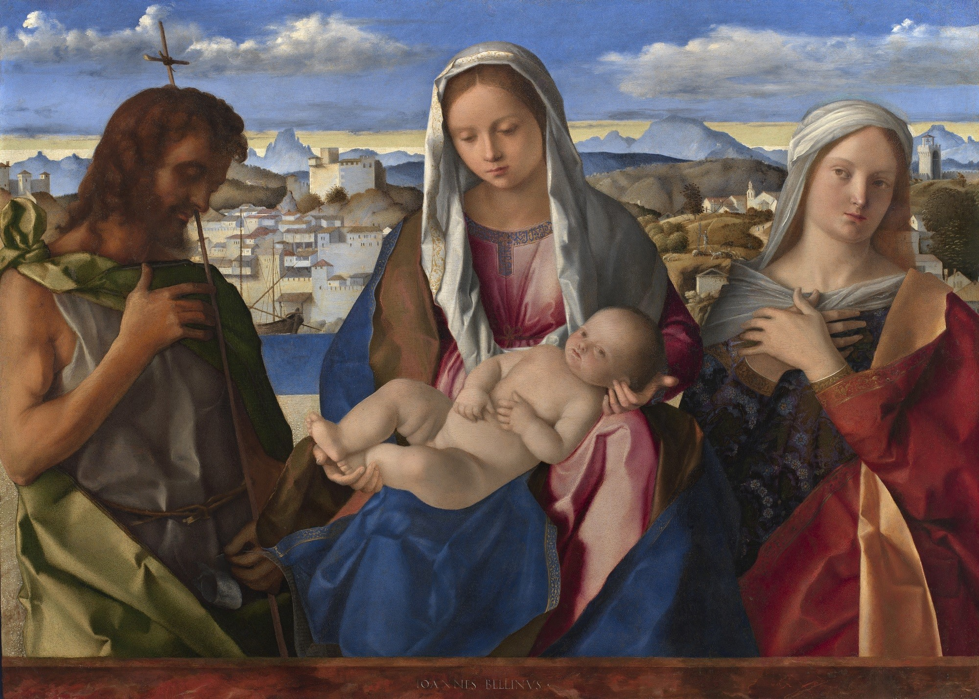 "Giovanni Bellini, ""Virgin and Child With Saint John the Baptist and a Female Saint in a Landscape,"" circa 1501."
