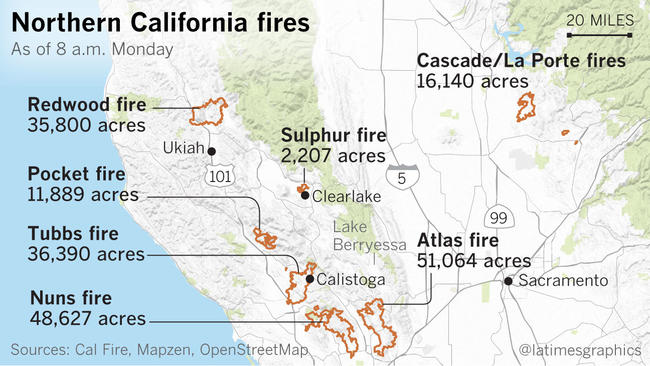 Napa and Sonoma Counties fire perimeters
