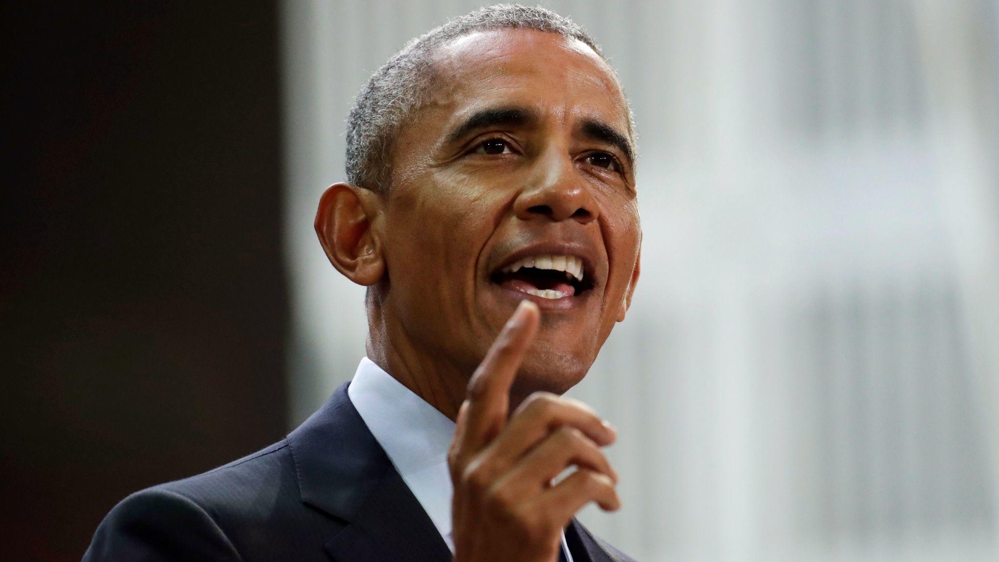 Former President Barack Obama speaks during the Goalkeepers Conference in New York on Sept. 20, 2017.
