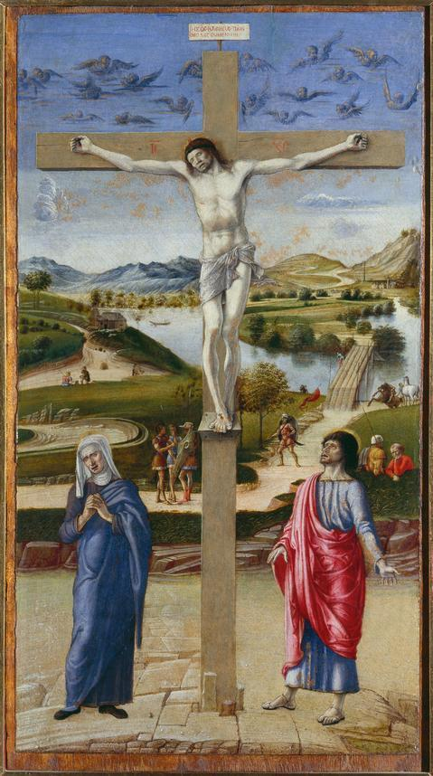 """Crucifixion With the Virgin and St. John the Evangelist,"" c. 1458-59, from an exhibition focused on the painter's landscape work at the Getty Museum."