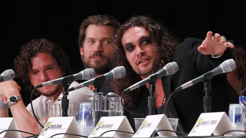 Jason Momoa, right, with Kit Harington, left, and Nikolaj Coster-Waldau at Comic-Con International San Diego in 2011. (Kirk McKoy / Los Angeles Times)