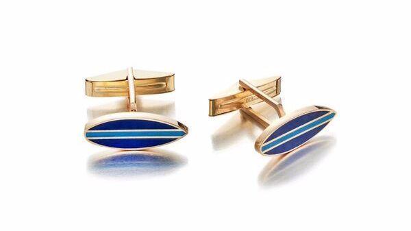Tara Hirshberg's 14-karat gold and enamel Venice Surf cufflinks