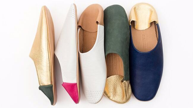 Jill Burrows leather slippers.
