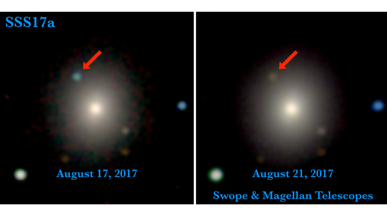 The left image is from 11 hours after the LIGO/Virgo detection of the gravitational wave source. It contains the first optical photons of a gravitational wave source. The right image is from four days later. The aftermath of a neutron star merger is marked with a red arrow.