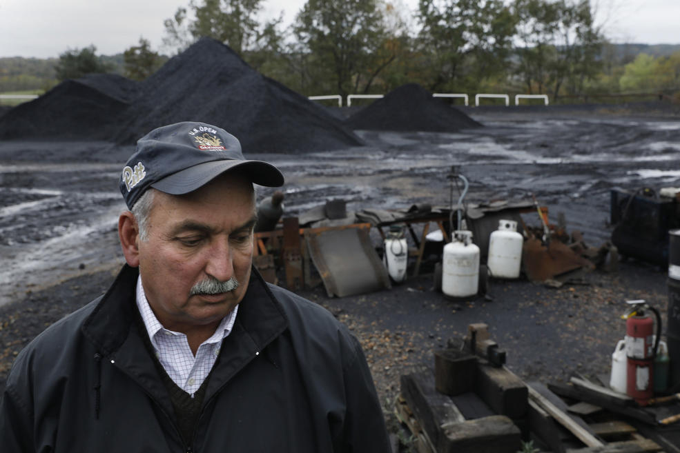 David Osikowicz, age 66, is owner of Original Fuels, a coal brokerage and four affiliated coal mines in Punxsutawney, Pennsylvania. Five years ago this whole lot would be piled high with coal, but demand has fallen sharply. — Photograph: Carolyn Cole/Los Angeles Times.