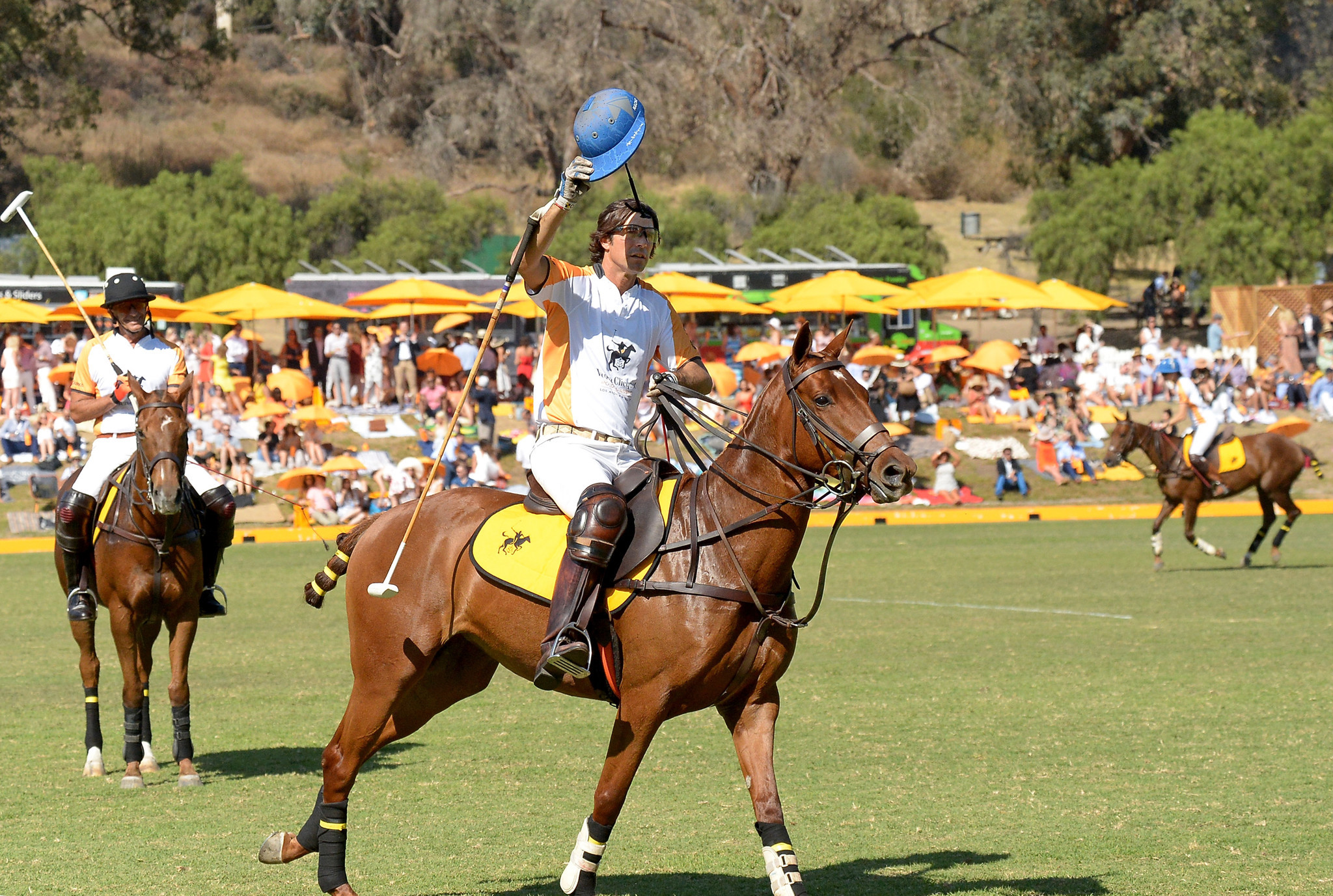 Nacho Figueras, center, at eighth annual Veuve Clicquot Polo Classic on Saturday.