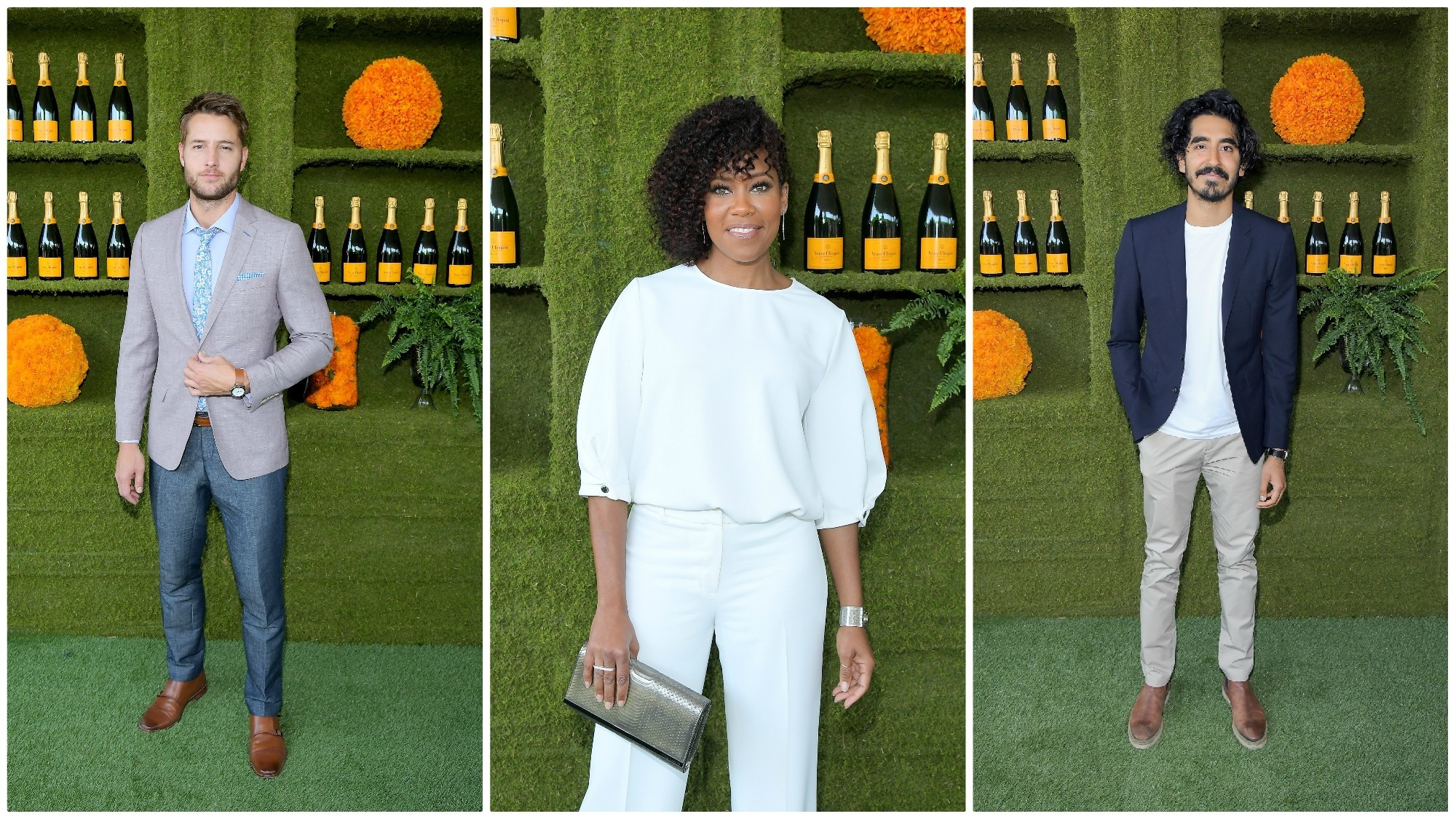 Justin Hartley, from left, Regina King and Dev Patel attend the annual polo match.
