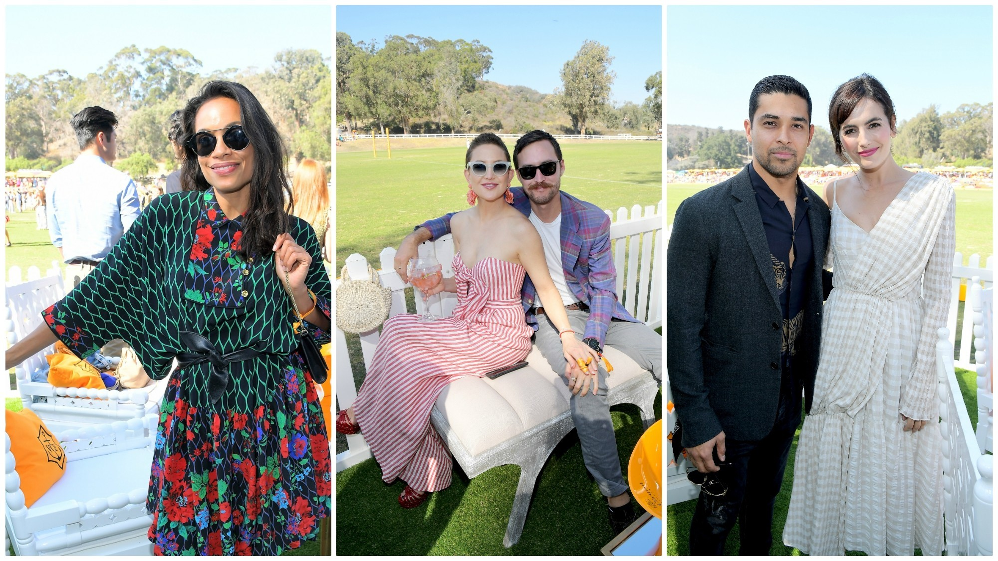 Rosario Dawson, left, Kate Hudson and Danny Fujikawa, and Wilmer Valderrama and Camilla Belle on the polo grounds for the annual Veuve Clicquot Polo Classic event.