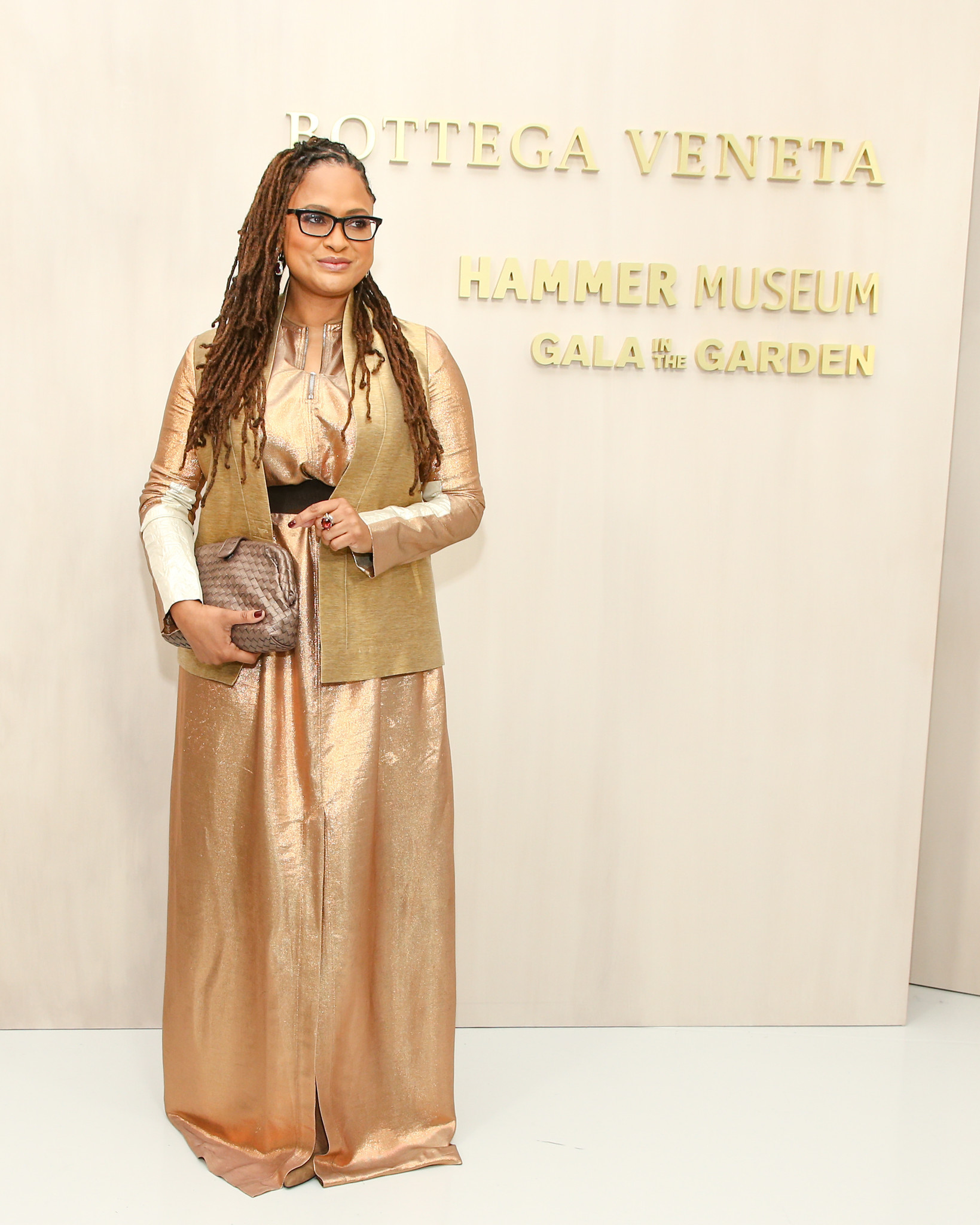 Honoree Ava DuVernay on Saturday at the Hammer Museum gala, which was sponsored by Italian fashion label Bottega Veneta.