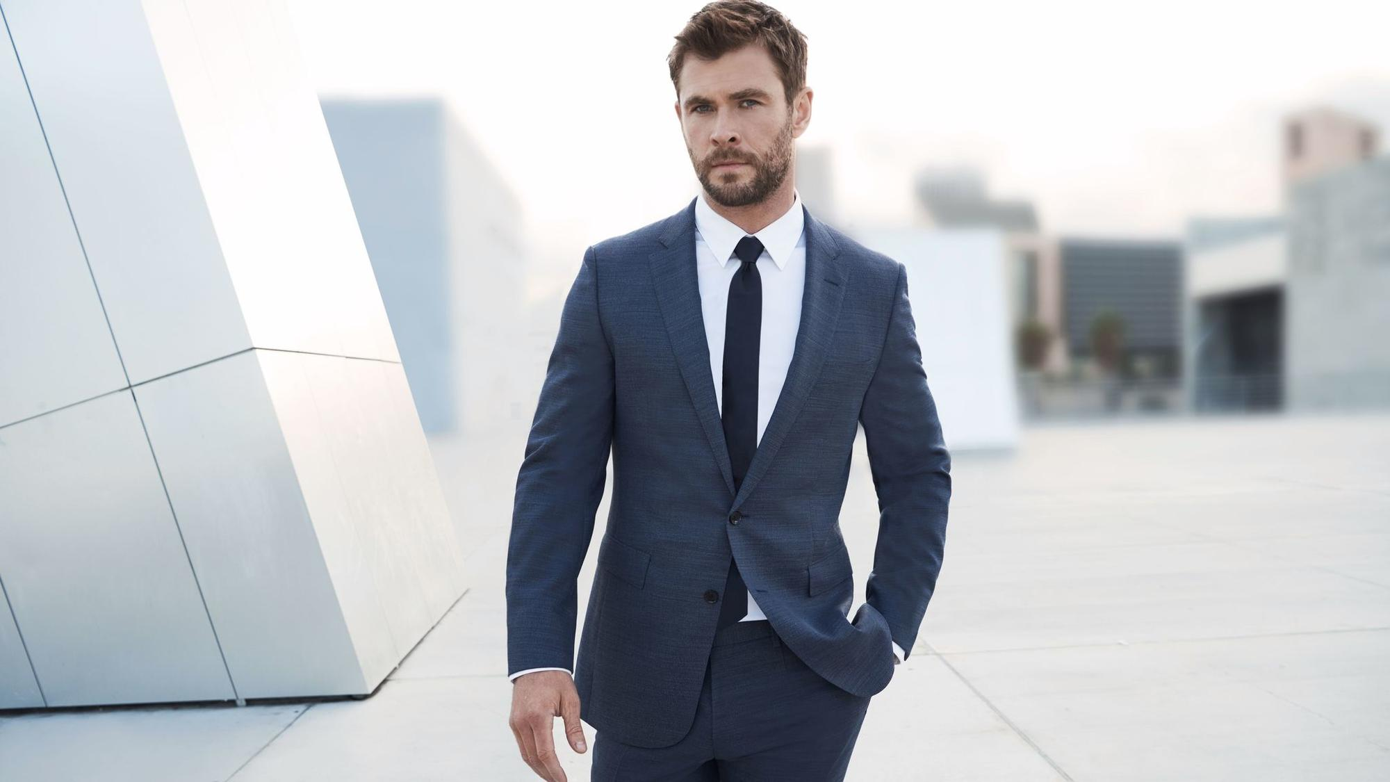 Chris Hemsworth in a photo from Hugo Boss' new Boss Bottled Tonic fragrance campaign shot by Nicholas Goldberg.