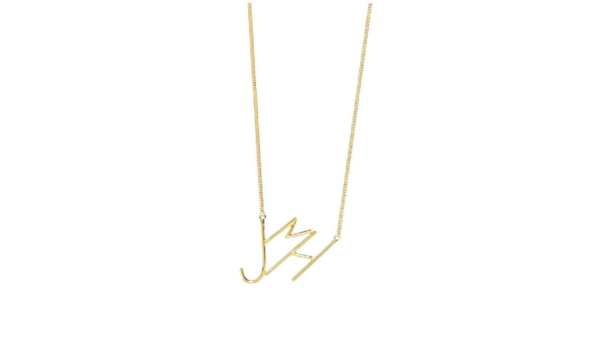 Lisa George abstract brass initial necklace.