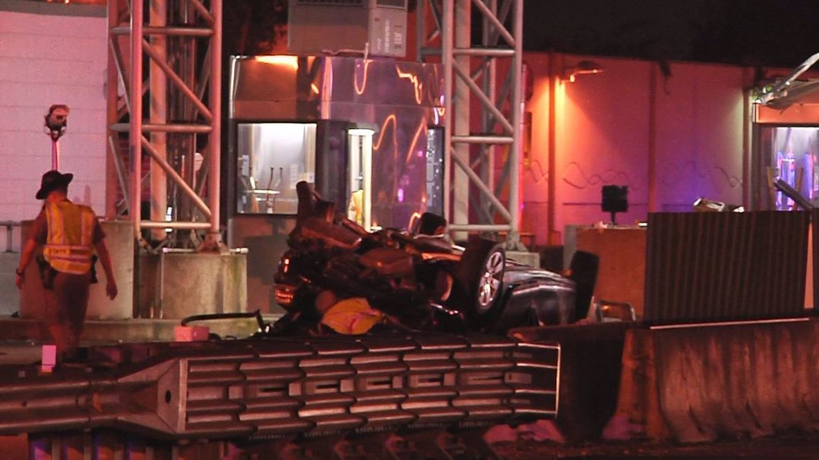 Stolen car flies over Turnpike toll booth in crash that kills three