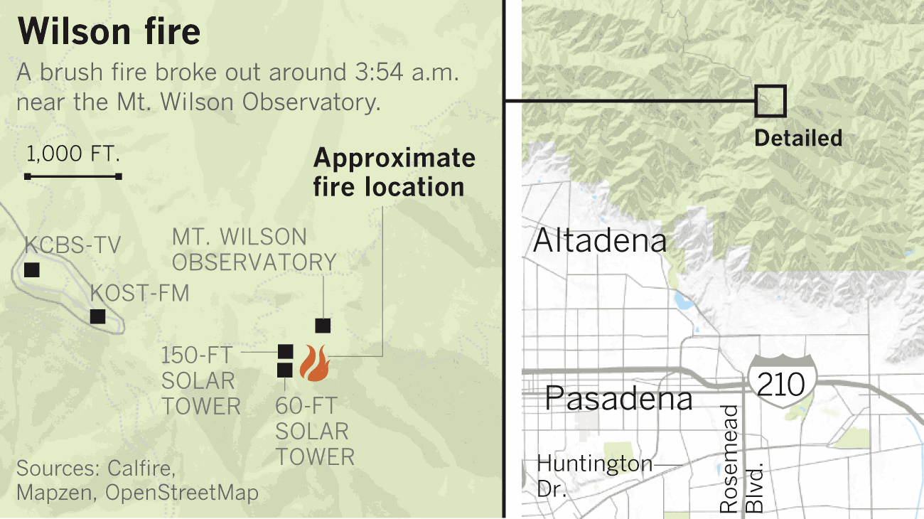 Firefighters fight early morning blaze near Mt. Wilson Observatory