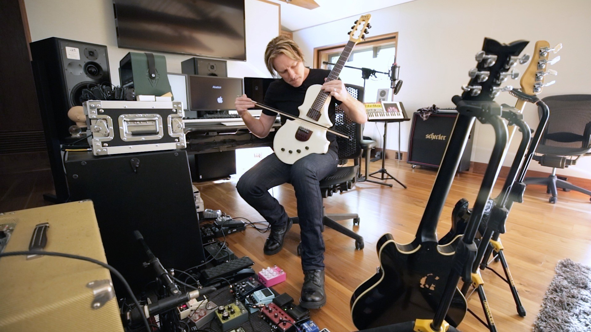 Composer Tyler Bates demonstrates the GuitarViol